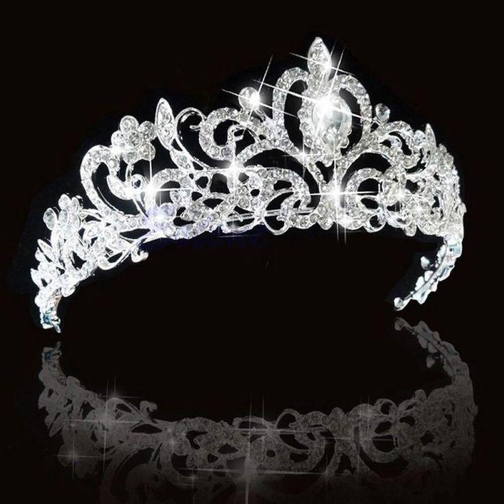 Bridal Princess Austrian Stunning Crystal Hair Tiara Wedding Crown Veil Headband #Unbranded #Crown
