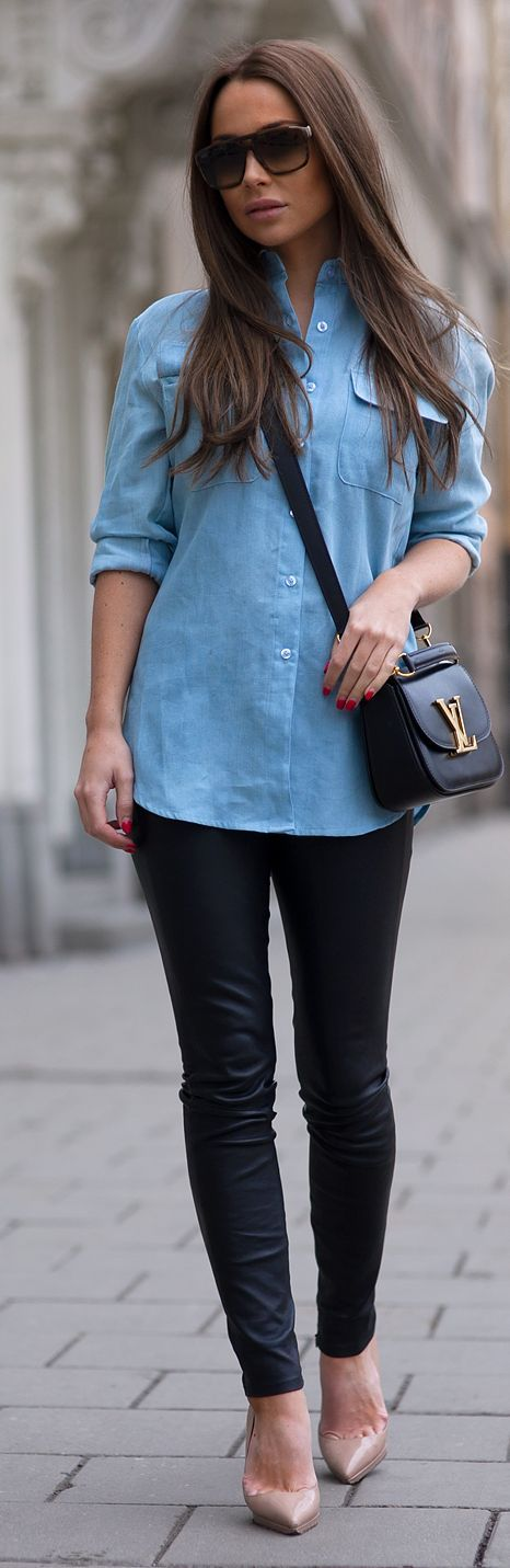 Blue Button Down Outfit