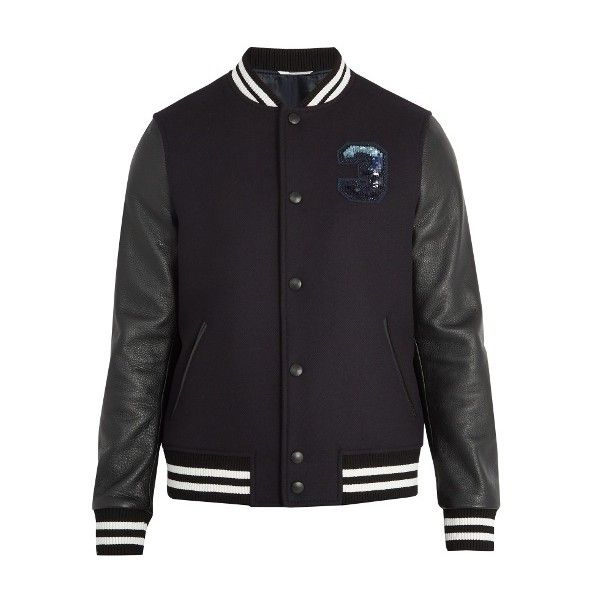 Valentino Logo-embellished wool and leather varsity jacket (120,235 THB) ❤ liked on Polyvore featuring men's fashion, men's clothing, men's outerwear, men's jackets, navy, mens leather flight jacket, mens navy bomber jacket, mens wool outerwear, mens leather bomber jacket and mens navy jacket