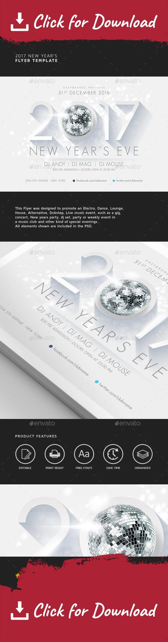 2017 flyer, 2017 new year, advertising, celebration, clean, dance floor, disco, event, festival, flyer, flyer design, holidays, long shadow, new year, new years, night club, nye, party, psd, techno, template, white     	This Flyer was designed to promote an Electro, Dance, Lounge, House, Alternative, Dubstep, Live music event, such as a gig, concert, 2017 New years party, dj set, party or weekly event in a music club and other kind of special evenings. All elements shown are included in…