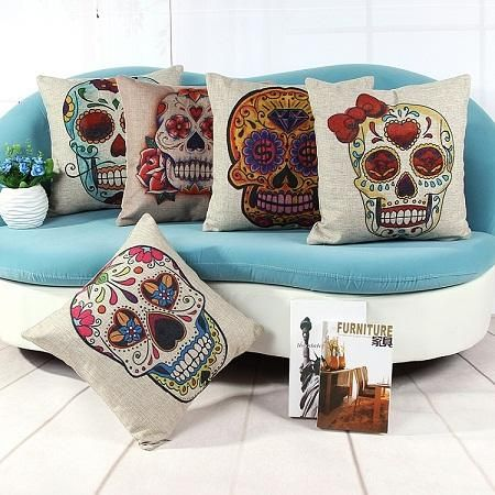 Skull Cushion Cover Set Color Skull Pillow Cover Home Decoration Couch Sofa Car Office Cushion Cover Halloween Festival from Fashionwonderland,$10.73 | DHgate.com