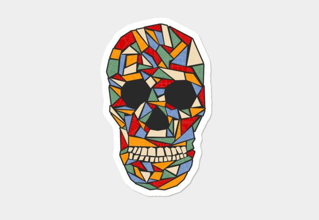 Shattered Daydream Sticker by Fimbis     Skull, Skulls, geometric, art, colorful, fashion, red, stickers,