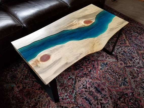 Sold Epoxy Stream Coffee Table Coffee Table Live Edge Coffee