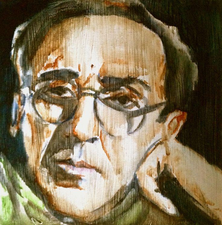 Franco Battiato Oil & watercolor on canvas 30x30