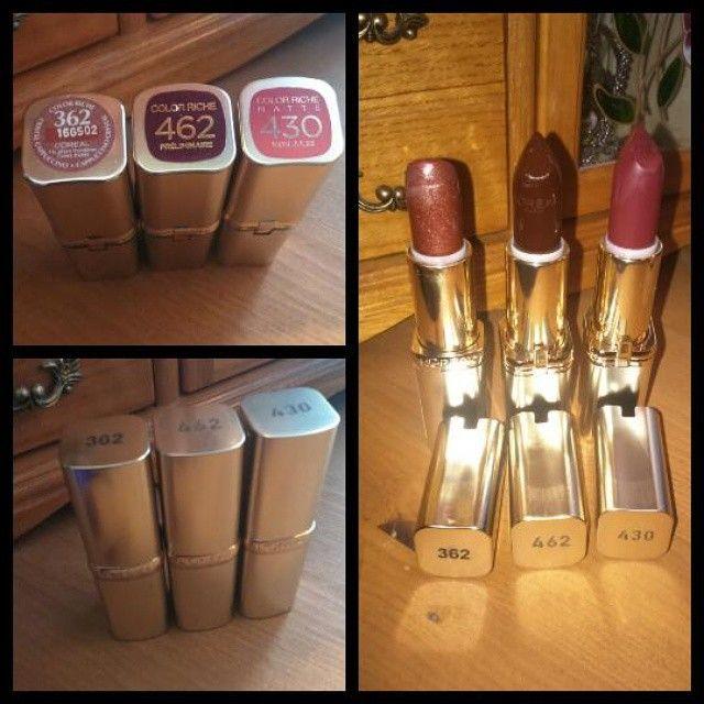 """""""Ľoréal prais lipstick £6.99 each at boots. From left to right 362 place vendome glitter effect colour 462 preliminaire gloss colour 430 mon jules matte…"""""""