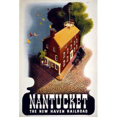 Nantucket Fish Tales New Haven Railroad Travel Canvas Art - (18 x 24)
