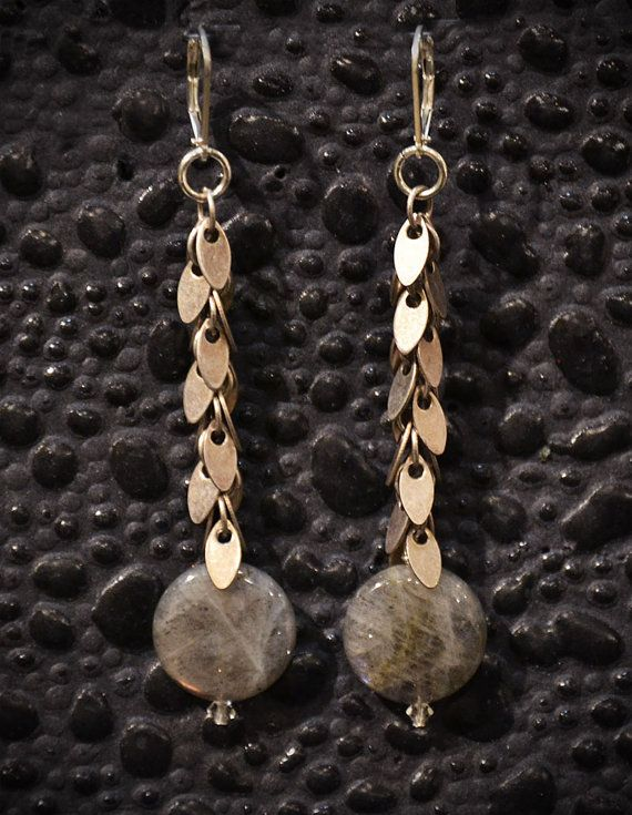 Labradorite drop earrings with leaf chain by SmittenDesignsEtsy, $60.00