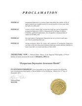Proclamation from Wood Buffalo, Alberta; January, 2012.
