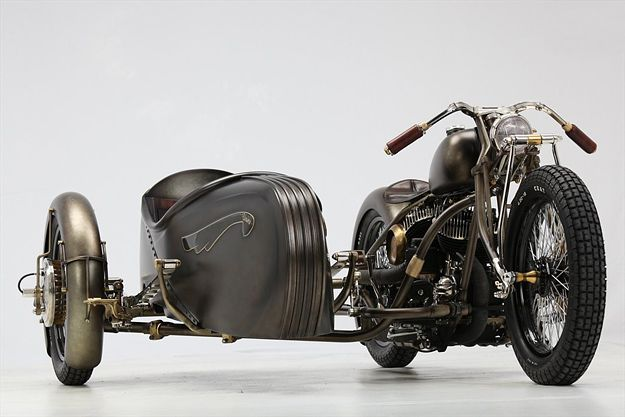 This has to be the most beautiful motorbike with a side car.