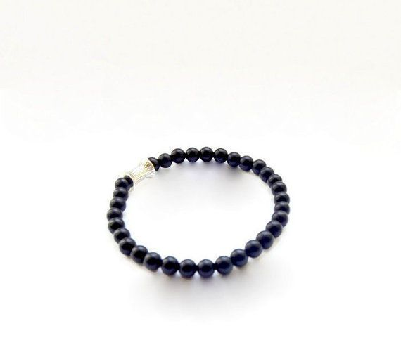 Mens Bracelet Matte Black Onyx 6mm Beaded unisex jewelry  #Beaded