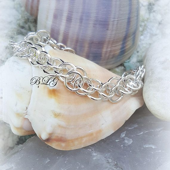 Sterling Silver Olympus Chainmaille Bracelet Round Maille