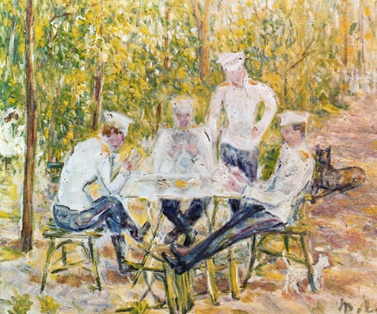 Mikhail Larionov. Soldiers Playing Cards. 1903
