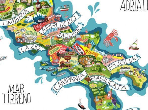 Cartina Dell Italia In Miniatura.Risultati Immagini Per Italia Cartina Dei Cibi Mappa Illustrazione Italia