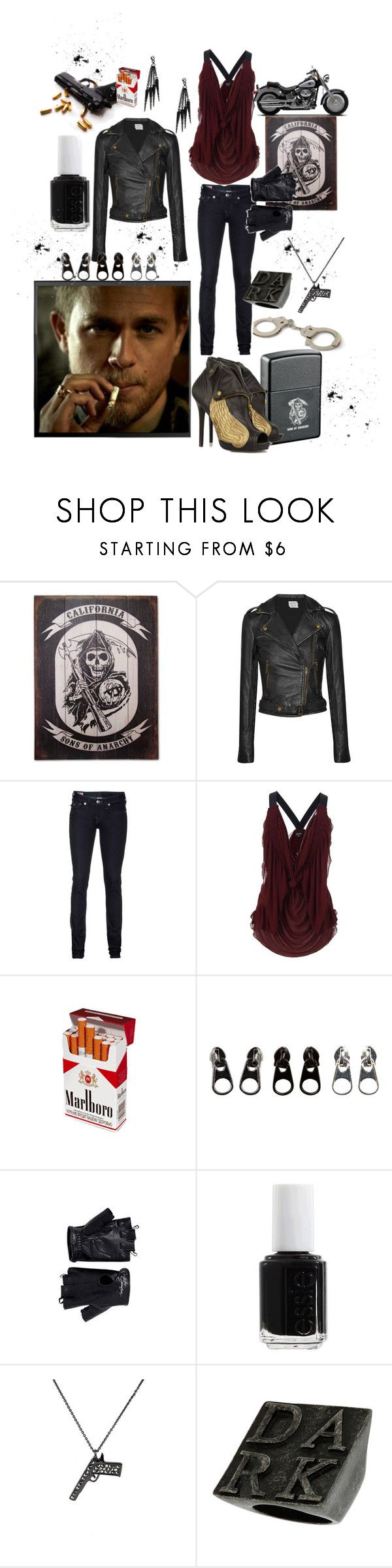 """""""Jax Teller- SOA"""" by caseyparke ❤ liked on Polyvore featuring Sons of Anarchy, Zippo, Current/Elliott, Alexander McQueen, True Religion, Jean-Paul Gaultier, Full Tilt, Harley-Davidson, Essie and Zadig & Voltaire"""