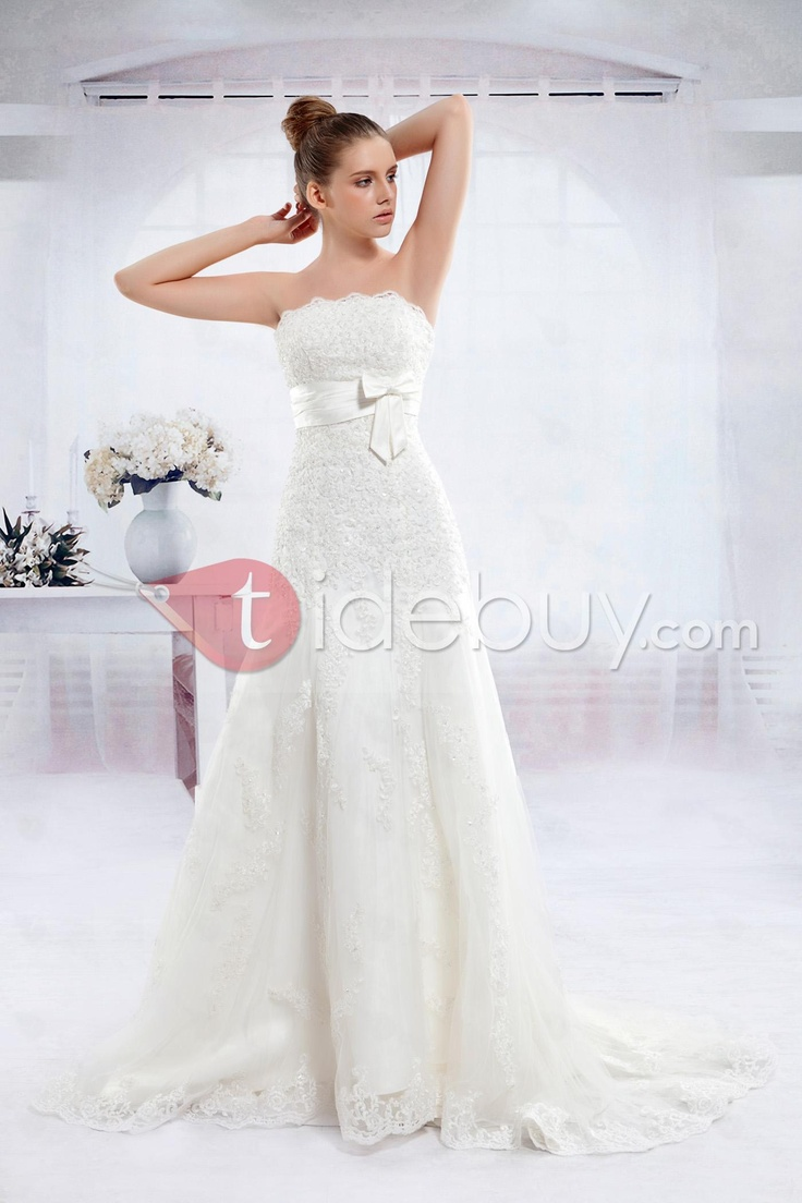 ウエディングドレス Pretty A-line Strapless Floor-length Chapel Anita's Wedding Dress. Love the skirt