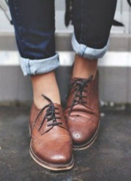 Shoes: derbies, brown leather, brogue shoes, women brogues, lace-up shoes, looking for in black, brown, lace up, leather - Wheretoget