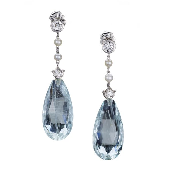 Edwardian Diamond Pearl And Briolette Aquamarine Drop Earrings