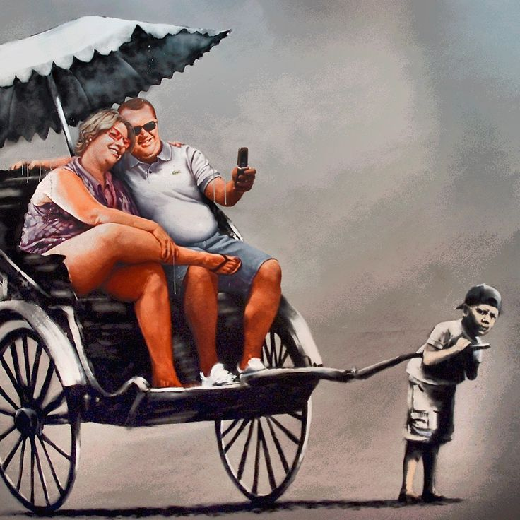 Bansky. Sweatshop. Street artist today are an example of the zeitgeist shift from traditional values. Their work is illegal but they have large fan groups and profit from the people who ignore that their work is against the law. They at worst viewed as benign criminals by the public. Marissa D.