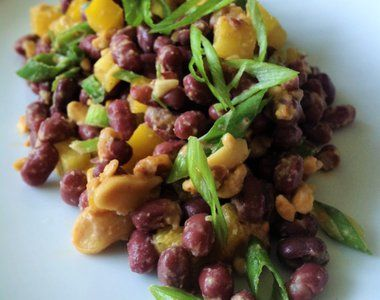 Adzuki Red Bean Salad with Asian Peanut Dressing #photorecipe by Katie Simmons - Cookbooth