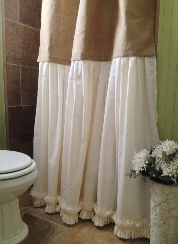 burlap shower curtain shabby chic burlap by simplyfrenchmarket - Bathroom Designs With Shower Curtains