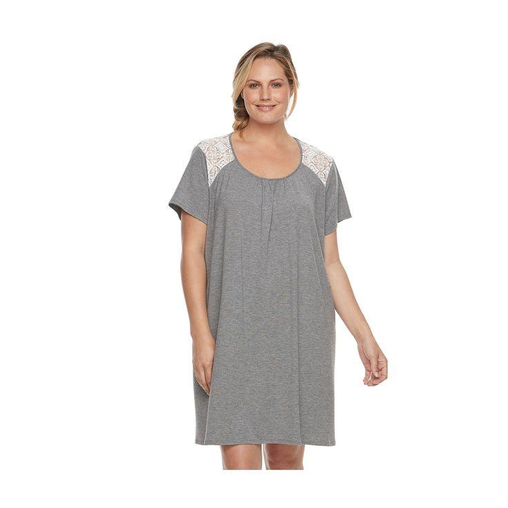 Plus Size Croft & Barrow® Pajamas: Lace Trim Sleep Shirt, Women's, Size: 3XL, Oxford