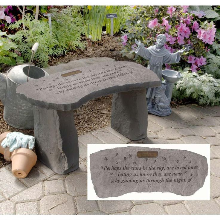 Stars Personalized Cast Stone Memorial Garden Bench