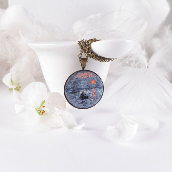 Necklace embroidered Impression, Sunrise Claude Monet, hand embroidery, embroidery,impressionism, Claude Monet, Impression, Sunrise