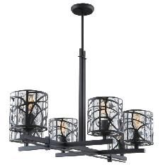 DVP7226GR-WTR River Heights 6 Lt chandelier New Black Water Glass