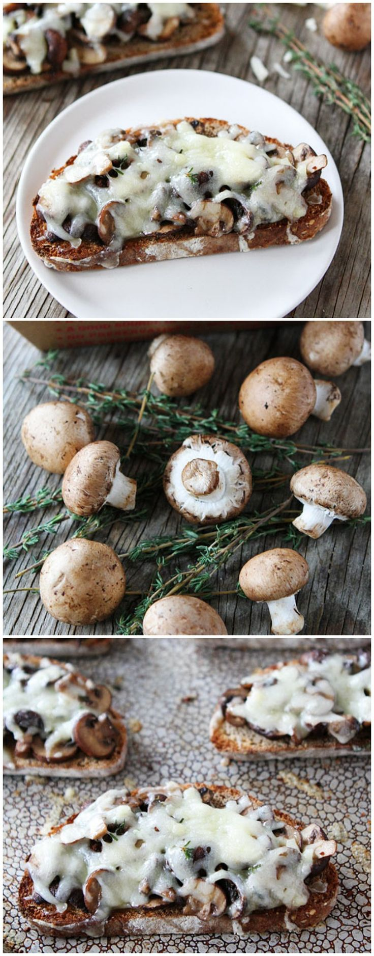 Roasted Mushroom and Gruyere Toasts Recipe on twopeasandtheirpo... Love this simple and delicious recipe!
