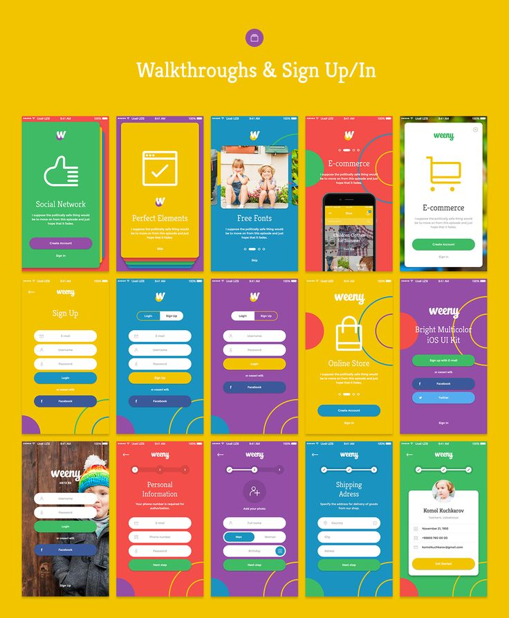 Weeny iOS UI Kit by Komol Kuchkarov on @creativemarket