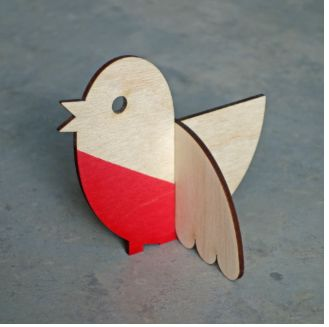 Lisa Jones Ornamental Robin: This little guy stands 9cm high, measures approximately 10cm from beak to tail feather and boasts an impressive wingspan of 9cm!  Lasercut from 3mm sustainable birch ply and packaged in a opaque envelope, his bright red breast is dip-dyed by hand.  As with all natural materials, some variations in grain and dye application are not only to be expected but celebrated as unique!