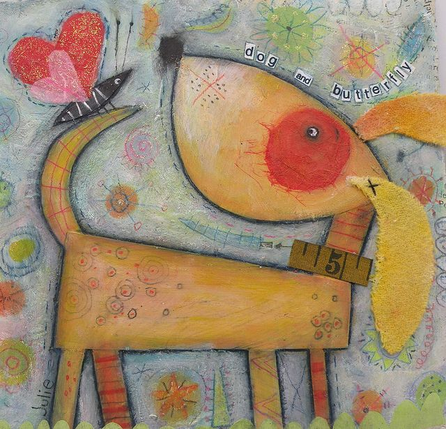 Love this! Dog and butterfly by juliehaymakerthompson, via Flickr
