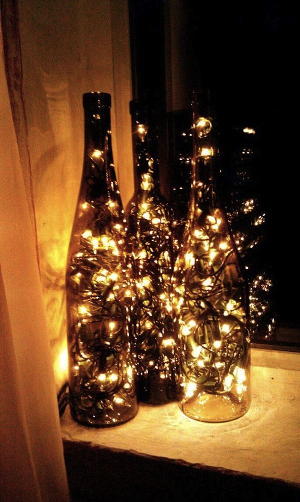 Wine bottles with christmas lights inside - 8 Recycled Wine Bottle Decorations For Your Wedding Food And Drink
