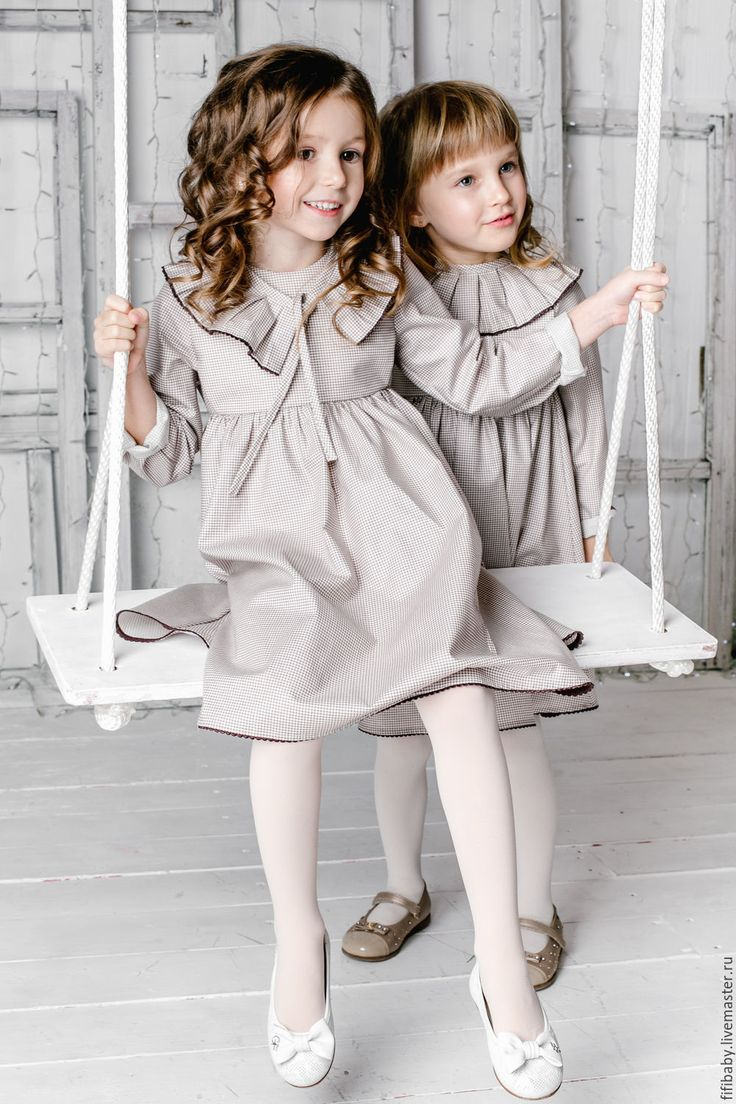 Платье с воротничком - коричневый, в клеточку, платье, платье из хлопка, платье для девочки, Платье нарядное