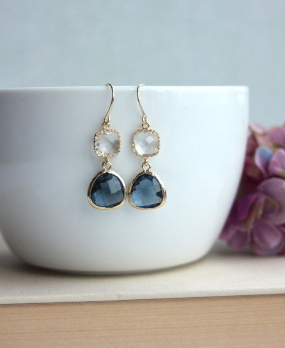Sapphire Blue Navy Blue Gold Plated Glass Pear Drop by Marolsha