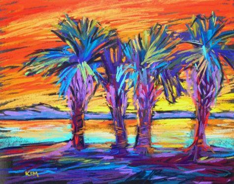 St. George Island Sunset 11x14 pastel, painting by artist Karen Margulis