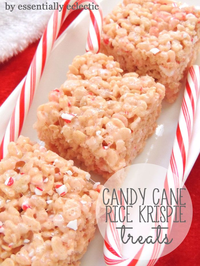 Candy Cane White Chocolate Rice Krispie Treats | www.EssentiallyEclectic.com | This recipe for Candy Cane Rice Krispie Treats is the perfect holiday snack! With just five ingredients, these treats will be ready to please in no time.
