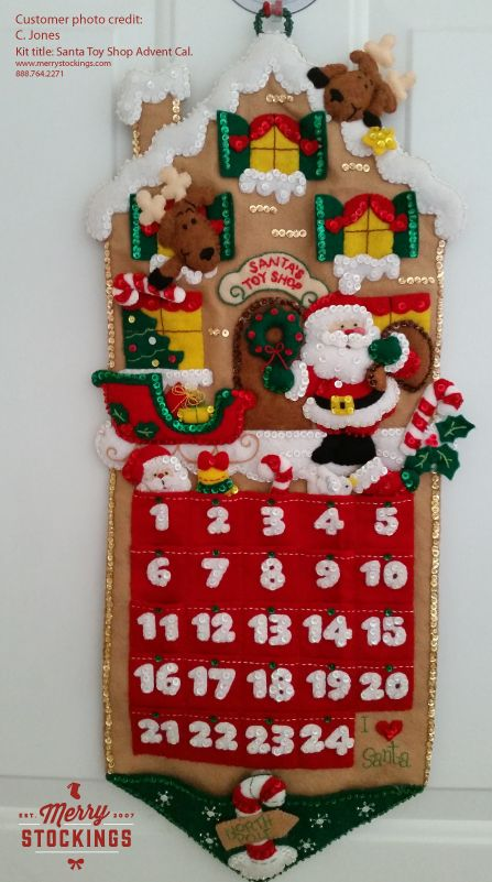 Finished Bucilla Advent Calendar Kit entitled Santa's Toy Shop. Picture sent to MerryStockings.