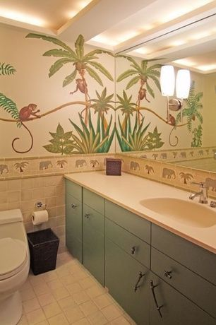 Tropical Kids Bathroom with Quartz counters, Mural, Built-in bookshelf, Tropical theme, Ceiling cove, Wall sconce