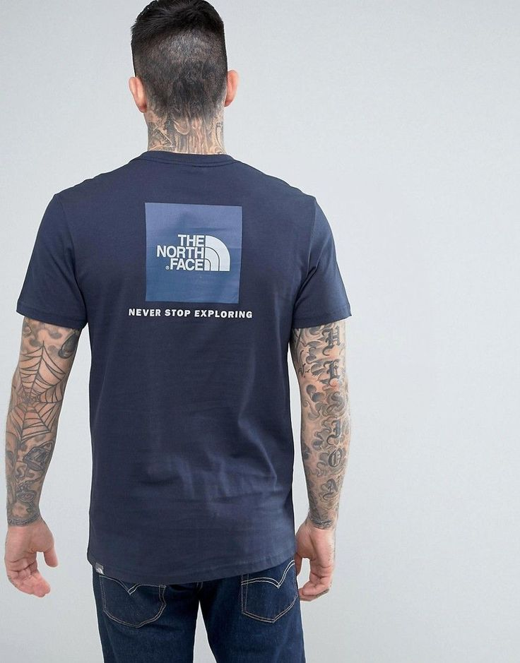 The North Face T-Shirt with Blue Box Back Logo in Navy - Navy