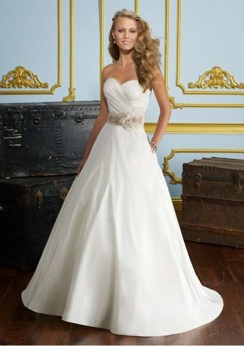 Taffeta Strapless Sweetheart Neckline Rouched Bodice Beaded Flower Accents Sash Bow back A-Line Wedding Dress WD-1819