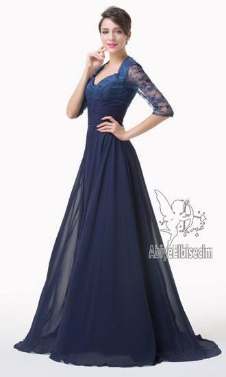 Uzun abiye elbise dantelli