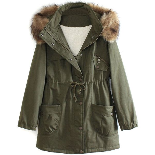 Military Green Pocket Detail Detachable Faux Fur Hood Parka Coat (£68) ❤ liked on Polyvore featuring outerwear, coats, jackets, tops, coats & jackets, army green coat, olive green parka, army green parka, pocket coat and olive coat