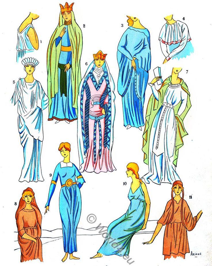 Fashionable Gallic women. Gaul costume history.