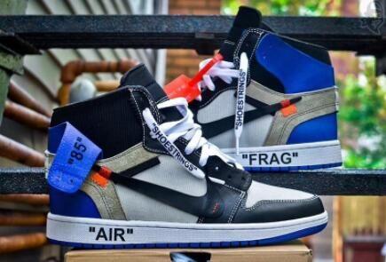 0082726edaf4 2017 OFF-WHITE x Fragment Air Jordan 1 Royal Black Toe For Sale