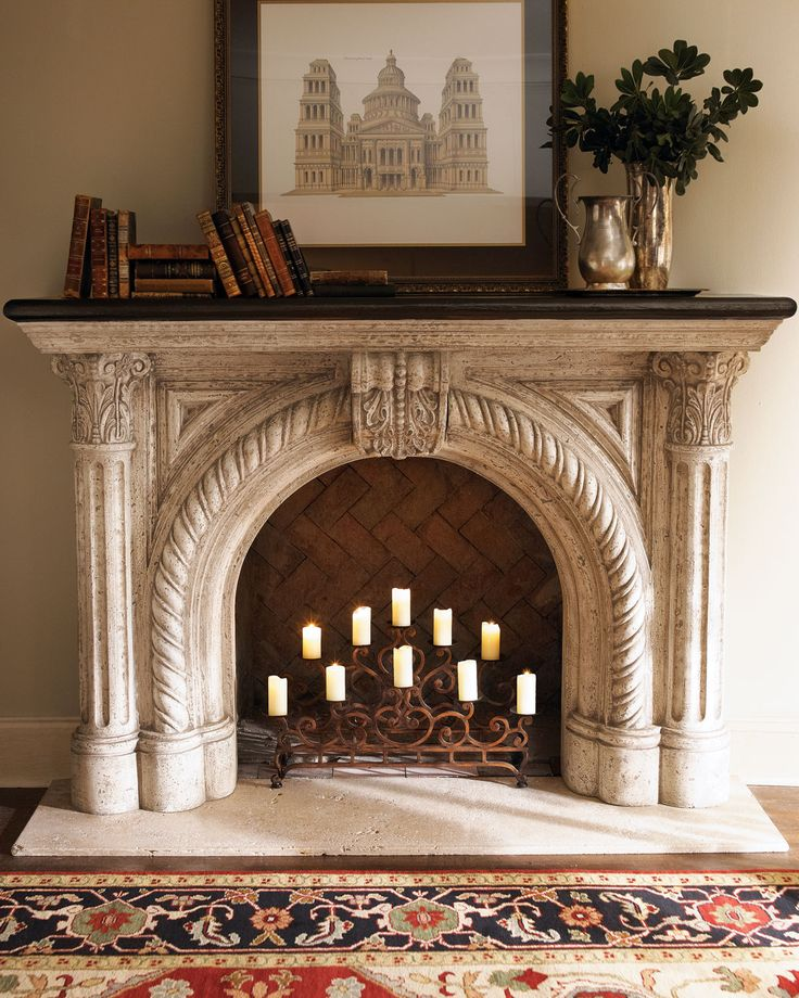 Rope-Edge Fireplace Mantel with Candles in it...for my library.