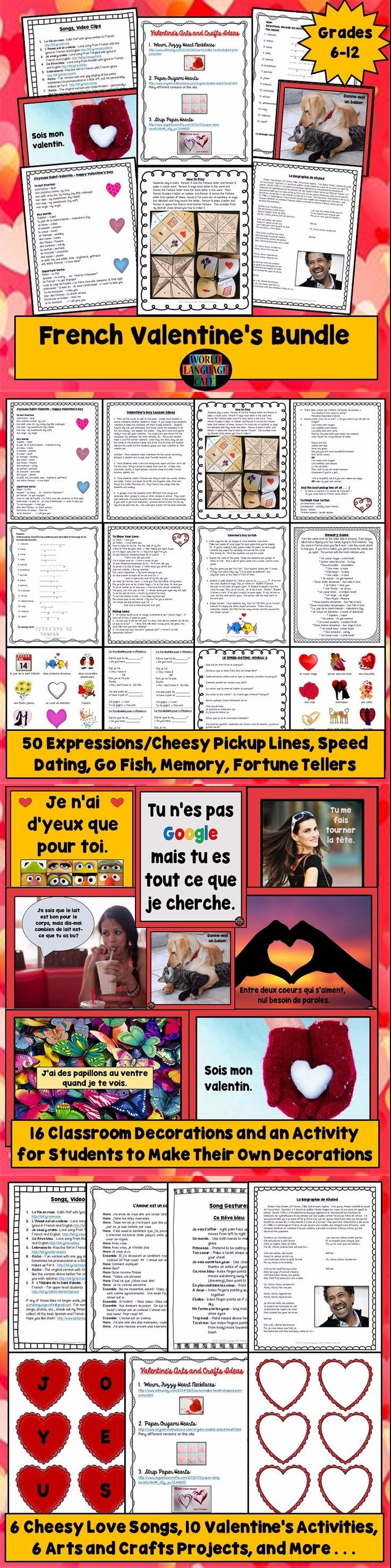 Everything you need so your French students will feel the love on Valentine's Day, jour de la Saint-Valentin: 50 vocab expressions and  pick up lines, 6 cheesy love songs, 8 class activities, games, fortune tellers, class decorations, and arts and crafts.