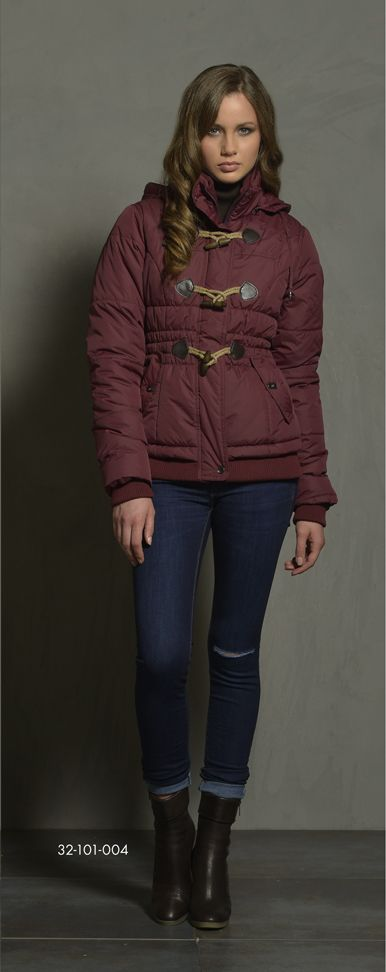 Ladies' short jacket with wooden like buttons & detachable hood. www.biston.gr