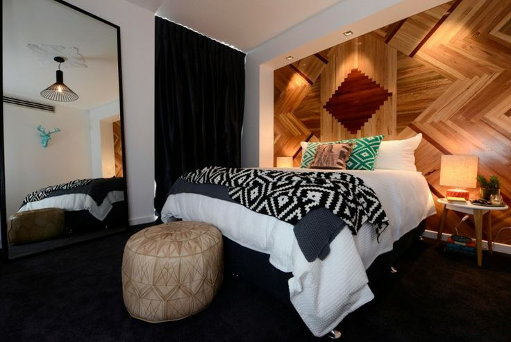 Aztec and Art Deco Inspired Bedroom. Love the timber parquetry wall! On 'The Block' Australia! Well done Chantelle and Steve♥