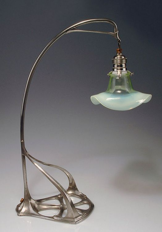 Art Nouveau table lamp, 1902, attributed to Friedrich Adler, silver-plated bronze, floriform cased glass shade, 51.5 cm H.